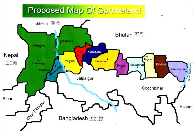 廓爾喀行政區政府提出的Gorkhaland 地圖