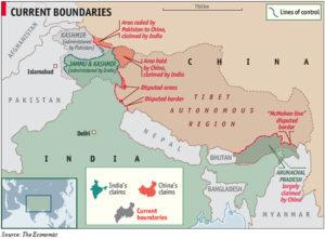 印度與中國、巴基斯坦的邊界爭議示意圖