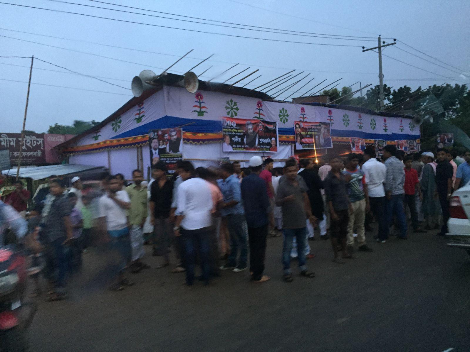 達卡北邊近郊Gazipur的政治活動造勢場景