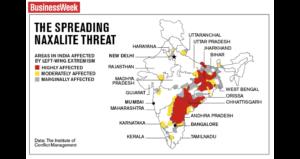 印度毛派活動區域圖