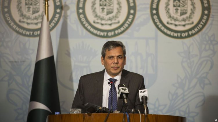 Pakistan's foreign ministry spokesman Nafees Zakaria briefs media at the Foreign Office in Islamabad, Pakistan, Thursday, Sept. 29, 2016. Pakistan accused India on Thursday of impeding SAARC. Zakaria said India's decision to stay away from the summit was aimed at diverting the attention of the international community from human rights violations in the India-controlled portion of Kashmir. (AP Photo/B.K. Bangash)