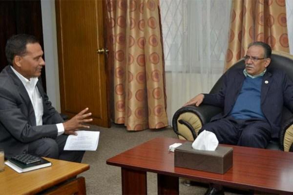 PM Pushpa Kamal Dahal in a meeting with NEA Director Kul Man Ghishing